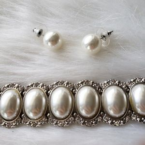 Gothic Pearl Silver Cluster Choker Earring Set